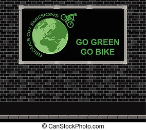 Bicycle advertising board - Advertising board on brick wall...
