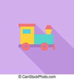 Train toy icon. Flat vector related icon with long shadow...
