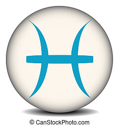 Pisces - Button with the zodiacal sign Pisces