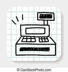Cash register doodle drawing