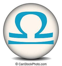 Libra - Button with the zodiacal sign Libra