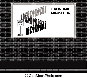 Economic migration advertising boar - Advertising board on...