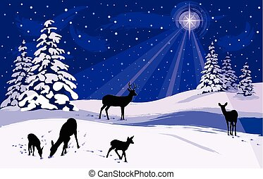 Snowy Winter Landscape with Deer - A bright star shining...
