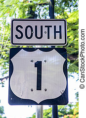 HWY 1 on Key West, Florida south - HWY 1 on Key West,...