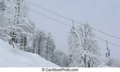 Chair ski lift in Rosa Khutor Alpine Resort - Chair ski lift...