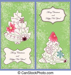 Set of christmas cards with trees and snowflakes vintage