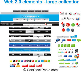 Web 2.0 elements -large collection - Web 2.0 elements