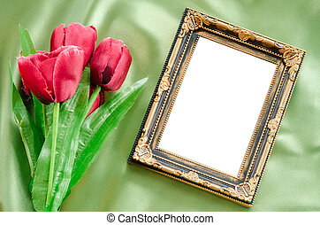 Blank Picture frames and red tulips flowers. - Blank Picture...