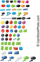 Speech bubbles and stickers - A huge collection of speech...