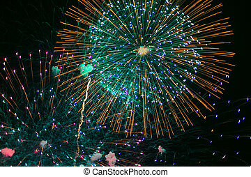 Beautiful colorful holiday fireworks.