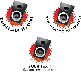 Turn up your sound! - Speaker illustration