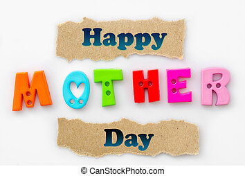 Happy mother day. - Happy mother day greeting card on white...