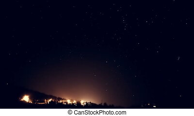 Starry sky above city. Timelapse falling stars. - Milky Way...