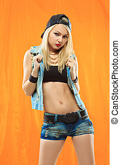 Young sexy skater girl. fashion portrait of young beautiful...