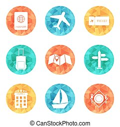 Travel icons - flat vector - Travel icons flat colored...