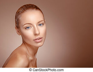 Beauty woman face. Girl with clear skin.