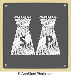 salt and pepper icon - Vector chalk drawn in sketch style...