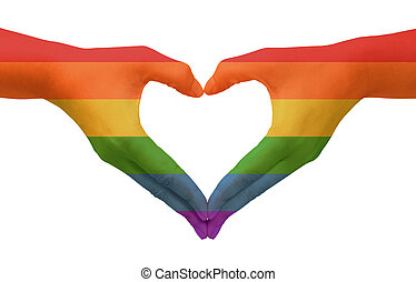 Symbolizing gay love - Hands painted as the rainbow flag...