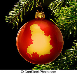 Red bauble with the golden shape of Serbia Montenegro...