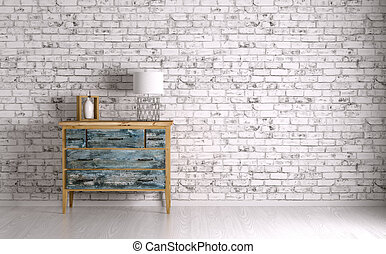 Interior of a room with chest of drawers 3d render -...
