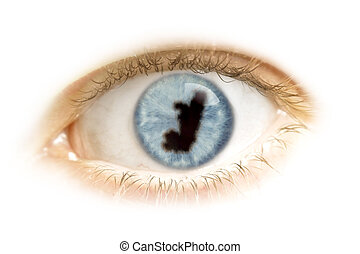 Close-up of an eye with the pupil in the shape of Congo.(series)