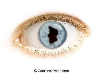 Close-up of an eye with the pupil in the shape of Chad.(series)