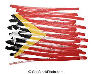 Flag illustration - East Timor - Flag illustration made with...