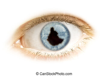 Close-up of an eye with the pupil in the shape of Ethiopia.(series)