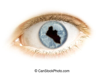 Close-up of an eye with the pupil in the shape of Liberia.(series)