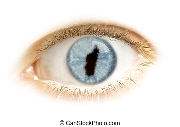 Close-up of an eye with the pupil in the shape of Madagascar.(series)