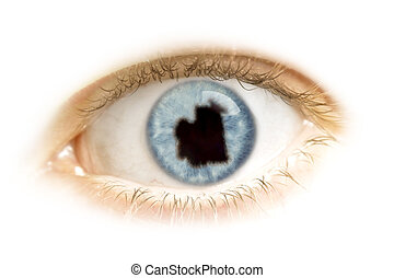 Close-up of an eye with the pupil in the shape of Mauritania.(series)