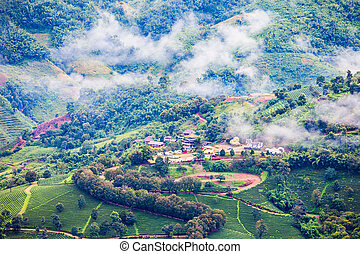 Mae Salong aerial view, Chiang Rai Province, Northern...