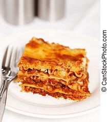 frais, lasagne, blanc, fond
