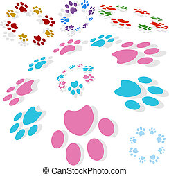 Paw Print Circle - Paw print circle isolated on a white...