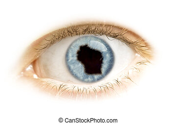 Close-up of an eye with the pupil in the shape of Wisconsin.(series)