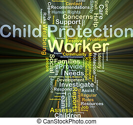 Child protection worker background concept glowing