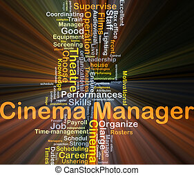 Cinema manager background concept glowing - Background...