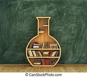Concept of chemistry. Bookshelf full of books in form of...