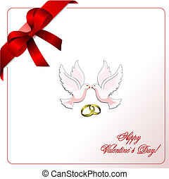 Envelope with blue  ribbon corner and doves. Vector.