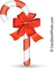 Christmas candy cane with red bow