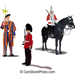Three guards on a horse isolated on white - Vector image of...