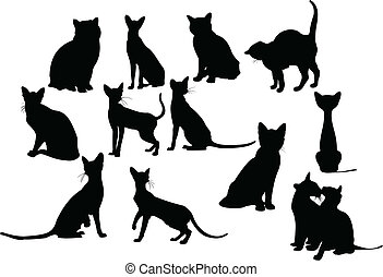 Twelve cats silhouettes. Vector illustration