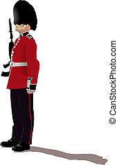 Beefeater isolated on white