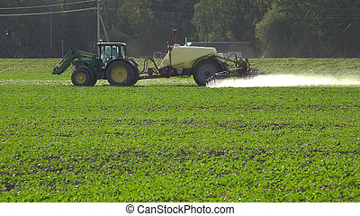 Tractor spray rape seed field with pesticide chemicals in...