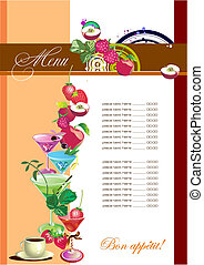 Restaurant cafe menu Colored vector illustration for...