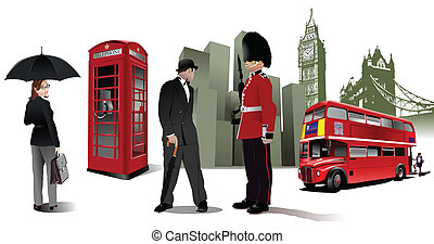 Few London images on city background Vector illustration