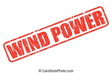 WIND POWER red stamp text on white
