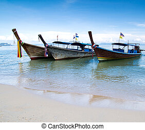 longtail boats - Tropical beach, longtail boats, Andaman...