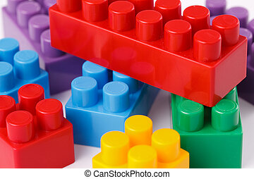 plastic toy blocks - photo shot of plastic toy blocks on...