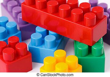 plástico, brinquedo, blocos
